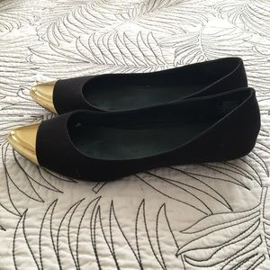 [Old Navy] Black & Gold Cap Toe Faux Suede Flats